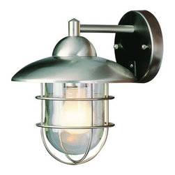 "Trans Globe Lighting - Trans Globe Lighting 4371 ST Stainless Steel Outdoor Modern Single - Features:  Stainless steel fixture Clear shade Down lighting UL Rated for damp locations  Specifications:  Height: 12"" Width: 9"" Number of bulbs: 1 (not included) Bulb base: Medium Bulb type: Incandescent Backplate diameter: 4.5"" Extension from wall: 10"""