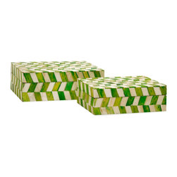 Essentials Bone Boxes - Set of 2 - Green Apple - *Essentials by Connie Post has received a makeover with new colors and style like this set of two bone boxes in modern, funky pattern. In melon sorbet, marine blue, mellow yellow and green apple.