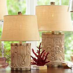Rowan Carved Wood Table Lamp Base - These carved lamps from Pottery Barn are so pretty. I love the details in the wood, and the bit of metal brings in some glam. I would love to use a pair in a bedroom or use one on a side table next to a lounge chair in the corner.