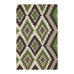 Surya - Surya Alameda Mexa Apple Green Hand Woven Rug - The hand-woven Surya Alameda Mexa rug introduces southwestern spirit with vibrant charisma. Edgy and bold, a series of eclectic diamonds create tribal texture. 100% wool; Chocolate brown, apple green, moss and ash gray; Flat pile; Reversible; Rug pad recommended; Available in several sizes; Design by Beth Lacefield