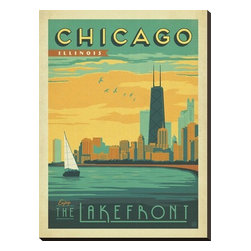 Artcom - Chicago, Illinois: Enjoy The Lakefront by  Anderson Design Group - Chicago, Illinois: Enjoy The Lakefront by  Anderson Design Group is a Stretched Canvas Print.