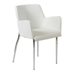 "Eurostyle - Eurostyle Sunny Arm Chair in White Leatherette & Chrome [Set of 2] - Arm Chair in White Leatherette & Chrome belongs to Sunny Collection by Eurostyle The Sunny Arm Chair features made of chromed steel for a contemporary flair! These modern dining chairs have white leatherette upholstery on the seat, back and arms - foam padded for comfortable seating anytime! Accent your home decor with this beautiful white dining room chair. Seat Height: 18.5"". The Sunny Arm Chair is the ultimate in contemporary home furnishings! The faux white or brown leather is easy to care for and complements the chrome frame perfectly! Arm Chair (2)"