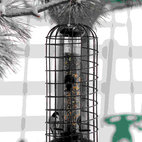 PineBush - Seed Feeder with Squirrel Blocking Cage - Seed Feeder with Squirrel Blocking Cage. Base reverses to become a feeding tray.