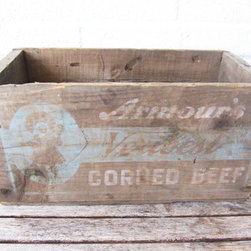 Vintage Rustic Wood Box, Corned Beef by La Roux Vintage - I'm pretty much obsessed with old wooden crates. While there are many to choose from when browsing on Etsy, I'm loving the white and blue graphics and text on this one. Wooden boxes and crates can be used to hold throw blankets, extra cushions, magazines, potted herbs, dishes — you name it!
