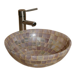 """The Allstone Group - L-VMR-SR-16L Polished #1 Vessel Sink - Natural stone strikes a balance between beauty and function. Each design is hand-hewn from 100% natural stone.  Allstone mosaic vessel sinks are our only product that is not carved from one single piece of stone.  Onyx was used in Egypt as early as the Second Dynasty to make bowls and other pottery items. Onyx is also mentioned in the Bible at various points, such as in Genesis 2:12 """"and the gold of that land is good: there is bdellium and the onyx stone"""", and such as the priests' garments and the foundation of the city of Heaven in Revelation."""
