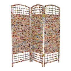 """Oriental Furniture - 4 ft. Tall Recycled Magazine Room Divider - 3 Panels - Hand-crafted from recycled East Asian magazines, woven into kiln dried, mitered wood frames. Each piece is one of a kind, as artisans weave a unique pattern of color and geometry into each panel. Perfectly sized for hiding a fire place, screening a pet's food or bed, or as a modesty screen in front of a desk or table. Use as a """"Shabby chic"""" decorative background for potted plants or collectible displays."""