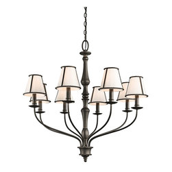 Kichler Lighting - Kichler Lighting 43344OZ Donington 8-Light Traditional Classic Chandelier - Inspired by the historic estates of presidents past, this 8 light chandelier from the Donington collection is a unique interpretation of traditional Williamsburg style. Simple iron rope detailing and a rich, Olde Bronze™ finish accentuates the off-white fabric shades, creating a classic look that works with a variety of decorating schemes.