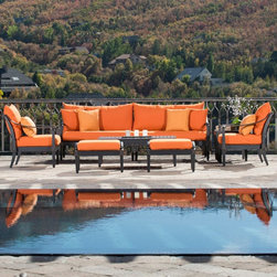 RST Brands - RST Brands Astoria Deep Seating Conversation Set - OP-ALSS8-AST-DEL-K - Shop for Chairs and Sofas from Hayneedle.com! Contemporary coastal living begins with the RST Outdoor Astoria Deep Seating Conversation Set. Designed by award-winning furnishings designer Michael Burridge this seating group helps you to fully enjoy and share the unique beauty of your property. The Astoria sofa with diamond shaped finials is a 2-piece modular set that can transform into an outdoor sectional with the Astoria corner unit (available separately). Two club chairs offer private seating for two guests and two ottomans with substantial quick-drying cushions work as footrests or extra seating. With a side table and a coffee table there's plenty of room for serving light comestibles and beverages while displaying special mementos. All frames are wrought of cast aluminum that is heat treated with a powder coat finish in Charcoal. This finish bears an antiqued character for a versatile look that complements a range of decor regimes. Whether you choose bright or neutral the plush cushions and pillows are made for colorfastness with SolarFast outdoor fabric a solution-dyed material that retains color longer than other outdoor fabrics. SolarFast has other favorable qualities; it's not harmed by salt or chlorine and it's is designed to dry quickly to avoid mildewing. The interior of the cushions is also designed to shed moisture; mesh-bottomed cushions are crafted to support your weight in comfort and also to drain completely. Cushions covers feature patent pending Quick Change technology that translates into easy removal for washing and simple style updates - just replace the covers!8-piece set includes:2 modular sofa pieces2 club chairs2 club ottomans1 coffee table1 side tableAbout RST OutdoorSince 2004 RST Outdoor has designed and manufactured products in the outdoor living home decor and wall-based organizational products categories. They are a direct import product marketing company. RST Outdoor categories of focus include jewelry boxes men's gifts & furnishings and RTA furniture. Their team of marketing and design professionals can help identify market trends and deliver products that meet target retails with maximum perceived value. Their network of manufacturing partners and overseas production managers insure integrity in production and strict quality control.