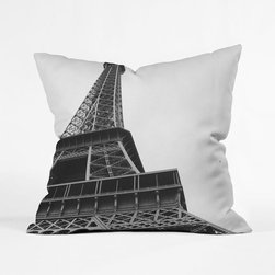 Champ de Mars Pillow Cover - From the foot of the Eiffel Tower looking up, you can truly appreciate the intricacy of its construction. Celebrate one of the world's finest landmarks with this gorgeous photo-printed pillow cover. Perfect for Francophiles and devoted travelers, it's a classic, comfortable addition to the sofa.