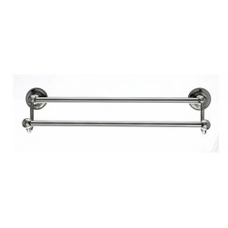 """Top Knobs Hardware - Edwardian Bath 24"""" Double Towel Rod - Brushed Satin Nickel - Beaded Back Plate - Projection - 6 1/2"""""""