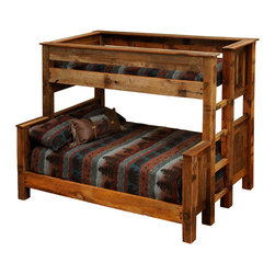 Fireside Lodge - Barnwood Beds, Twin Over Full Barnwood Bunk Beds - A Barnwood Bed bunk-bed set, twin size over full size bed. Comes in twin over  full or twin over queen sizes.  Quality unique Barnwood Bed. Handcrafted. Lasts a lifetime. Beautify your home, ranch house or cabin.  Sleep a child on top and  two adults underneath or for three children in the same bedroom, maximizing floor space. Use ladder on either the left or right sides of  the upper bunk bed.  Full-length  hardwood  underneath rails keep the bed sturdy and safe.