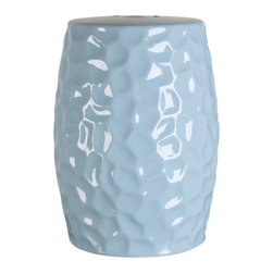 "Oriental Danny - Ceramic Garden Stool - Powder blue crackle ceramic garden stool. Best use as side tables. ""Rocky"" motif design. Can be used indoor and outdoor. All hand made."