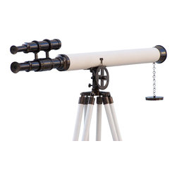 Handcrafted Nautical Decor - Floor Standing Oil-Rubbed Bronze/White Leather Griffith Astro Telescope 64'' - The Hampton Nautical Oil-Rubbed Bronze/White Leather Griffith Astro Telescope 64'' with view finder is the pinnacle of our wide telescope selection. This beautiful oil-rubbed bronze telescope is mounted on a white painted wooden tripod. This telescope is a beautifully functioning nautical masterpiece, with a 42mm objective lens that produces up to 15x magnification. Focusing is accomplished by adjusting the eyepiece ring on the telescope tube and a removable oil-rubbed bronze cap, connected by a chain, protects the objective lens.--The wooden tripod stand features smooth, polished and round legs painted white, each with oil-rubbed bronze fittings and a screw release to let you adjust the height. An oil-rubbed bronze chain holds the three wooden legs together to maintain the telescope's position.-- Dimensions: 64'' H x 25'' W x 32'' L----    15X Magnification--    Oil-rubbed bronze wrapped in white leather telescope body--    Glass optics for a clear view (not plastic lenses)--    Fully functional telescope focuses and magnifies--    Sturdy wooden white painted tripod supports telescope when standing--    --    Custom engraving/photo etching available: Logos, pictures, or slogans can be easily put on any item. Typical minimum custom order is 100+ pieces. Minimum lead-time to produce and engrave is 4+ weeks. Custom engraving available on large quantity orders (call us for information)--