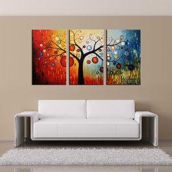 'Life Tree V' Oil Paint 3-piece Hand Painted Canvas Art Set -