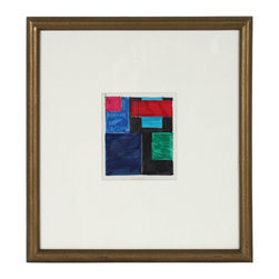 Lost Art Salon - Small Geometric Abstract Artwork - This Mid Century pen, ink and tape abstract on paper is by Illinois artist Dellard Cassity (1926-2008). While internationally recognized artists such as Frank Stella, Ellsworth Kelly and Victor Vasarely were pioneering the styles of Hard-Edge abstraction and Optical Art in the world�s big cities, Dellard Cassity was quietly doing the same in his small town of Litchfield, Illinois. Framed in a restored vintage wood frame with antique gold distressed finish with overall patina using antique white archival matting behind conservation clear glass.