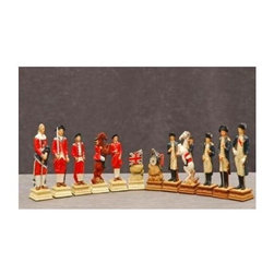 Cambor - Hand-Painted Revolutionary War Chess Pieces Set - Hand painted in reproduction colors, this Revolutionary War themed chess set will be a treasured selection for history buffs and chess players alike. Made by Italian artisans, the set will bring an element of drama to any game room, library or study decor. Made of Oxo-Teak. Multiple colors. Hand painted realistic museum reproduction colors. Made in China. King: 3.5 in. / Base: 1 in. square. 14 in. L x 14 in. W x 2 in. H (3 lbs.)
