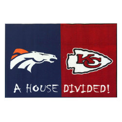 Fanmats - NFL Broncos-Chiefs House Divided Football Accent Floor Rug - Features: