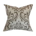 "The Pillow Collection - Olavarria Damask Pillow Brown Natural 18"" x 18"" - Provide a fashionable look to your space with this romantic throw pillow. This accent pillow comes with an intricate print in brown and set against a natural background. This square pillow looks perfectly beautiful in contemporary, modern and traditional decor styles. Place this decor pillow on your living room, bedroom or floor. Made from 100% soft cotton fabric. Hidden zipper closure for easy cover removal.  Knife edge finish on all four sides.  Reversible pillow with the same fabric on the back side.  Spot cleaning suggested."