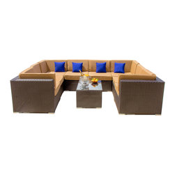 Lakeview Outdoor Designs - Avery Island 8-Person Resin Wicker Patio Sectional Set - With sleek lines and luxurious, deep seating, the versatile Avery Island collection by Lakeview Outdoor Designs will captivate your guests with its high-end style and uncompromising craftsmanship. This chic, low maintenance 9 piece sectional set features a graceful, espresso-colored flat wicker that wonderfully blends with any patio decor or style. The set can seat up to 8 people and the plush, deep seats have 5-inch thick canvas camel cushions made with washable, Sunbrella fabric that will not fade in the sun. The top-grade Viro all-weather resin wicker is made using an exclusive technique creating beautiful synthetic fibers that are completely colored throughout and not just on the outside. The superior quality and meticulous construction ensures your furniture will not crack, peel or fade from season to season or in extreme weather conditions (-96 to 176 degrees). The wicker is then hand-wrapped over a hidden, powder-coated and rust-resistant aluminum frame with non-marking, adjustable leveling feet for support and durability. With the included assembly clips, you can attach the sections together or with other Avery Island collection pieces in any arrangement you desire. Dimensions (in inches): Coffee Table: 33 1/2 W X 22 D X 17 H. Corner Chair: 34 W X 34 D X 28 H. Armless Chair: 26 1/2 W X 34 D X 28 H. Seat Height 18. When the sectional pieces are put together as shown, the overall dimensions are 94 1/2 X 121 X 94 1/2.