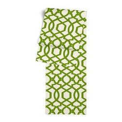 Green Velvet Flocked Trellis Custom Table Runner - Get ready to dine in style with your new Simple Table Runner. With clean rolled edges and hundreds of fabrics to choose from, it's the perfect centerpiece to the well set table. We love it in this kelly green velvet flocked trellis in on cream cotton that adds subtle texture and warmth to your room.
