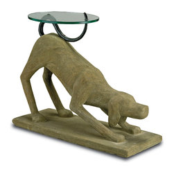 Currey & Co - Currey & Co 2013 Rolf Old Iron End Table - This playful contemporary Currey & Co 2013 Rolf Old Iron End Table is a delightful place for your drink, plate or book. The doggie begs to play as it stands on a rectangular base 30 inches wide. Composed of wrought iron, concrete and steel, the table is finished at 25 inches in height with a round glass top perched on the dog's artfully curved tail. Finished in old iron, this nifty table is designed to endure.