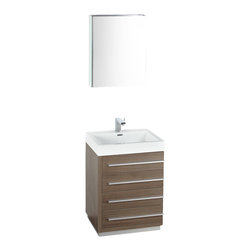 "Fresca - Fresca Livello 24"" Gray Oak Modern Bathroom Vanity w/Faucet & Medicine Cabinet - The Livello 24"" vanity features four pull out drawers that come equipped with slow closing hinges. Its sink is made with a durable acrylic material that is less likely to break then tradition ceramic, it also cleans better. This vanity's minimal design will make your bathroom feel like a modern oasis. Complete with medicine cabinet and basin."