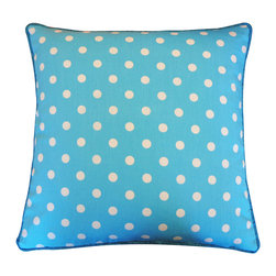 JITI - Blue Cotton Pillow - Everything's more fun in polka dots — including this pretty blue pillow. Cheerfully dotted, elegantly piped and boasting a cozy soft feather and down insert, it's a festive addition to your space and a comfy companion for your couch.