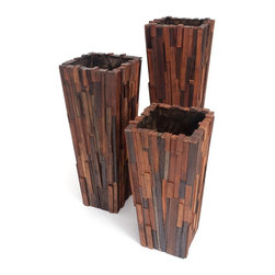Rotsen Furniture - Salvaged Wood Planter Set - Wine casks as planters are so passé. Reclaimed wood, on the other hand, is trés chic. And so are you when you add these beautiful hardwood planters to your decor. They're not just for plants either — positioned together, they make a bid for attention.