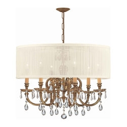 Crystorama - Crystorama 2916-OB-SAW-CLQ Brentwood Chandelier - The Brentwood Collection from Crystorama offers a nice mix of traditional lighting designs with large tailored encompassing shades. Adding either the Harvest Gold or the Antique White shade to these best selling skus opens the door to endless possibilities.