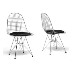 Wholesale Interiors - Avery Mid-Century Modern Wire Chair with Black Cushion (Se - Mid-century dining chair