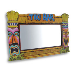 """Zeckos - """"Tiki Bar"""" and Tiki Masks Wooden Hanging Wall Mirror - Impress your guests at your next Polynesian luau and create an island ambiance perfect for entertaining or just relax with the family for a weekend BBQ This Polynesian inspired 'Tiki Bar' wall mirror is framed in opposing happy and angry tiki masks. This fun wooden wall hanging has a mirrored glass insert that easily removes for cleaning and hangs on the wall using only two nails or screws using the two keyhole hangers in the back. This is an ultra-cool 17 1/8 inch long, 11 inch high, 3/8 inch deep decoration to reflect your mood and your style."""