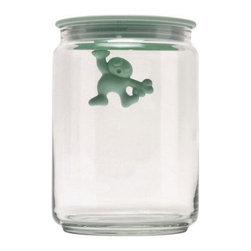 Alessi - Gianni Jar Medium by Alessi - The Alessi Gianni Jar Medium, a 1994 Mattia Di Rosa design, features a little-man indicator. When the air-tight lid is closed, he holds on. When the lid is off, he does a handstand. Great for dry-goods storage. The Gianni Jar Medium comes in several colorful colors and makes a great gift.