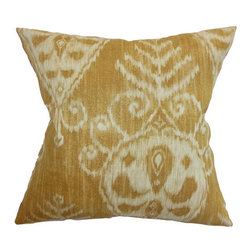 The Pillow Collection - Hargeisa Ikat Pillow Dijon - - Comes standard at 18 x 18  - Reversible pillow with same fabric on both sides  - Includes a hidden zipper for easy cover removal and cleaning  - Comes standard with a down pillow insert  - All four sides have a clean knife-edge finish  - Pillow insert is 19 x 19 to ensure a tight and generous fit  - Cover and insert made in the USA  - Spot cleaning recommended  - Fill Material: Down  - Pillow cover made of Cotton The Pillow Collection - P18-D-20937-DIJON-C100