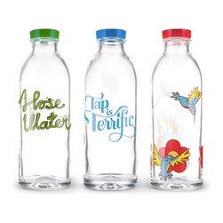 Modern Glass Bottle - Set of 3 - Set of 3 water bottles.