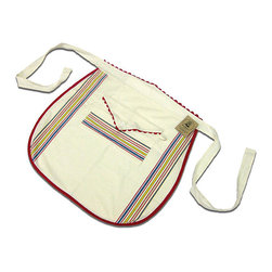 None - Vintage Stripe Cotton Waist Apron - This apron is fashioned from replica toweling fabric The vintage apron is for all those who have washed our dishes and cooked our meals Cotton apron features red bias and rick rack trim with multi-colored stripes