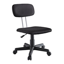 "LexMod - Agility Office Chair in Black - Agility Office Chair in Black - Sure and steady wins the race with the simple and functional task chair. This padded black fabric chair comes with one-touch pneumatic height adjustment, a black nylon base, dual wheel carpet casters and a full 360 degree swivel. Set Includes: One - Contemporary Task Swivel Chair with Sleek Modern Design Padded Black Fabric Seat and Black Mesh Back, Study Construction, One-Touch Pneumatic Seat Height Adjustment, 360 Degree Swivel, Black Nylon Base with Dual Wheel Carpet Casters Overall Product Dimensions: 18""L x 16""W x 29 - 32""H Seat Height: 16 - 20.5""H - Mid Century Modern Furniture."