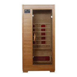 Blue Wave - Blue Wave 1Person Ceramic Infrared Sauna - Blue wave; heatwave saunas; start reaping the benefits of an at-home sauna today; look better, feel better, live better! heatwave saunas; are the safe, effective and affordable way to relieve stress and improve health, right in the comfort of your own home. Our saunas utilize the latest in infrared heat technology, are super easy to assemble and fit in virtually any room in your home. With their solid hemlock wood and tongue and groove construction, these saunas are built to last, providing you with years of health benefits and stress relief. Heatwave saunas; come with either ceramic or carbon heaters, feature interior reading lights and built in sound systems to further enhance your sauna experience. The 2-, 3-, and 4-person models come equipped with back rests, towel hooks, magazine holder, color therapy light, and oxygen ionizers. Heatwave saunas; operate on a safe 120V / 15-amp or 20-amp power and are backed by cetl certification. 5-year warranty on wood, structure, heating elements and electrical; 1-year warranty on the radio. Start relieving stress and enjoying the many healthy benefits of a heatwave sauna.