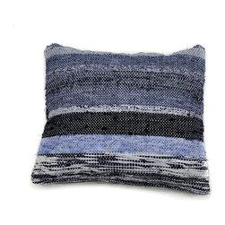 re:loom - re:loom Handwoven Medium Pillow, Blue/Black/Gray - *PRODUCT DESCRIPTION