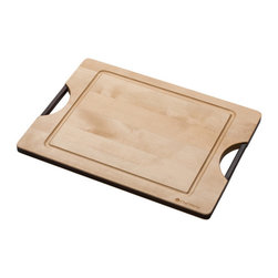 "Chef Works - Chef Works Ken Onion Rain Reversible Maple & Cork Cutting Board, 18"" X 13"" - The Chef Works special cork inlayed board promotes edge retention by using the cork's special ability to absorb the energy of aggressive chopping, dramatically reducing edge rollover or blade damage and dullness. It is also self-healing and resists bacteria. The flip side of the board is a standard cutting surface that promotes speed for the more experienced cook. This large cutting board measures at 18"" x 13""."