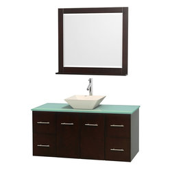"""Wyndham Collection - Centra 48"""" Espresso Single Vanity, Green Glass Top, Pyra Bone Porcelain Sink - Simplicity and elegance combine in the perfect lines of the Centra vanity by the Wyndham Collection. If cutting-edge contemporary design is your style then the Centra vanity is for you - modern, chic and built to last a lifetime. Available with green glass, pure white man-made stone, ivory marble or white carrera marble counters, with stunning vessel or undermount sink(s) and matching mirror(s). Featuring soft close door hinges, drawer glides, and meticulously finished with brushed chrome hardware. The attention to detail on this beautiful vanity is second to none."""