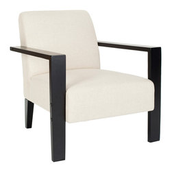 """Safavieh - Jenna White Armchair - The Jenna armchair resonates statement-making appeal in contemporary interiors. An angular black frame complements the seat's plush white upholstery for bold modernity. 31""""W x 30""""D x 31""""H; 80% viscose/20% linen; Pine and birch frame; Ebony black finish; Spot clean only"""
