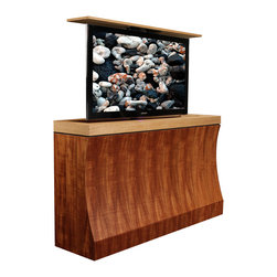 Cabinet lift TV, US made Bayside TV lift cabinet available in 5 woods & finishes - Bayside TV lift cabinet designed by Cabinet Tronix. Designer US made furniture perfectly married with premium US made TV lift system.
