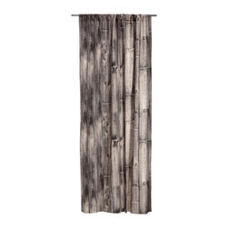 Curtain, Taupe - These curtains are actually a gray-brown and white photograph of reclaimed wood printed on cotton fabric. This makes for a very interesting curtain option and would be perfect in a room with a modern/rustic aesthetic.