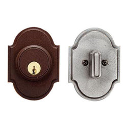 European Deadbolt Lock - Shapely backplates and a stylish thumbturn make this deadbolt lock a simple yet stunning piece. Pair with the European knob set to create your own entrance set.