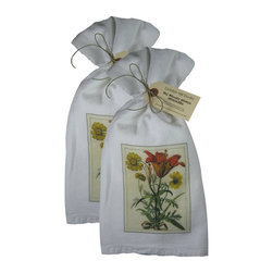 Golden Hill Studio - Tiger Lily with Yellow Daisy Flour Sack Towel Set of 2 - This lovely Flour Sack Towel set is adorned with an 1800 botanical print.  Printed and Assembled in the USA!