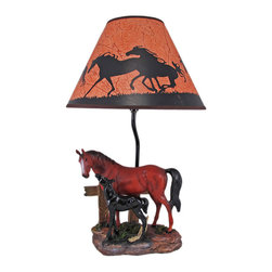 Zeckos - Brown Mare and Foal Horse Table Lamp w/ Shade - This awesome table lamp features a brown mare with her black foal. Measuring 19 inches tall, including the silhouette horse print 12 inch diameter shade, the lamp is a wonderful decorative accent for horse lovers. It uses regular sized light bulbs up to 60 watts.