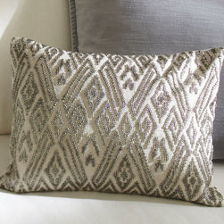 Maddie Beaded Lumbar Pillow Cover - A hand bejeweled design crafted of metallic beads gives this simple pillow cover dazzling personality.