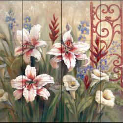 The Tile Mural Store (USA) - Tile Mural - Iron Scroll Ii - Kitchen Backsplash Ideas - This beautiful artwork by Vivian Flasch has been digitally reproduced for tiles and depicts a colorful flower scene.  With our enormous selection of tile murals of plants and flowers you can bring your kitchen backsplash tile project to life. A decorative tile mural with plants and flowers is an impressive kitchen backsplash idea and decorative flower tiles also work great in the bathroom. Add splashes of color and life to your tile project with images of flowers on tiles and tiles with pictures of plants.