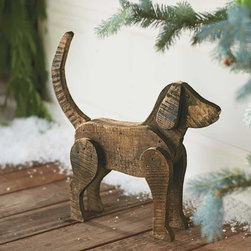"""Viva Terra - Barn Wood Dog - With tail raised high, ears perked and muzzle lifted, our handsomerecycled-barn-wood canine embodies all the qualities ofa supremely alert and protective watchdog. All he needs is anoccasional dusting and plenty of love. 19.25""""L x 3.5""""W x 17""""H"""