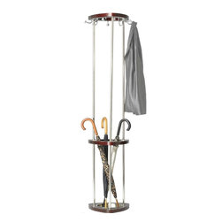 Safco - Mode Wood Costumer w Umbrella Rack in Mahogany Finish - Hook size: 2 in. L x 1.25 in. W, 0.63 in. head. Capacity of 10 lbs. per hook. Matte silver with wood stain finish. Brushed chrome accents. Made from wood and steel. 8.5 in. diameter drip tray size. Nine hooks. Silver and mahogany finish. Assembly required. 14.5 in. W x 14.5 in. D x 68.75 in. H (18 lbs.). Assembly InstructionMake a great impression with your guests rain or shine! Make sure each guest has a place for their hats, coats and scarves. This costumer can greet guests in your reception area, lobby, office, waiting room, training center, conference room or classroom. Also great in any entrance area such as an atrium or foyer. And create space for your guests to hang their hats in a restaurant, food court, warehouse or any place your guests visit. Now all your guests will feel like they're at home.